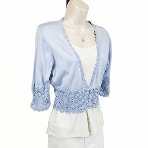 BCBGMaxAzria crochet trim cropped cardigan blue